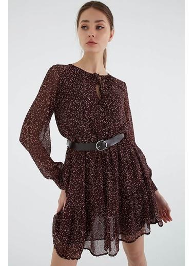 Modaset Kemerli Şifon Elbise Kahverengi Kahve